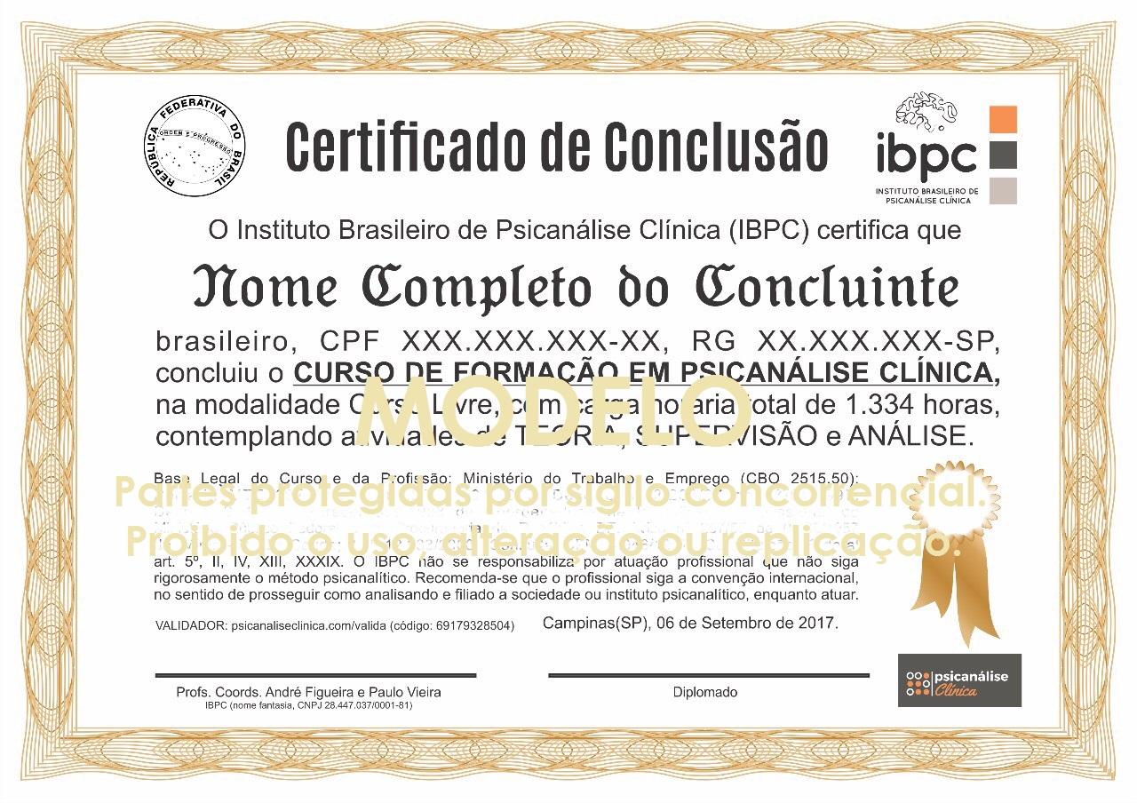 certificado psicanalise